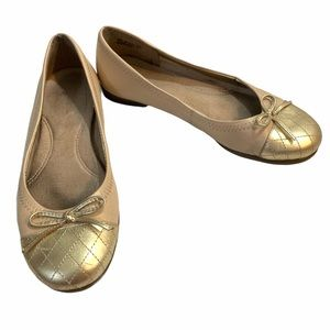 Aerosoles ballet flats gold cream beckon leather